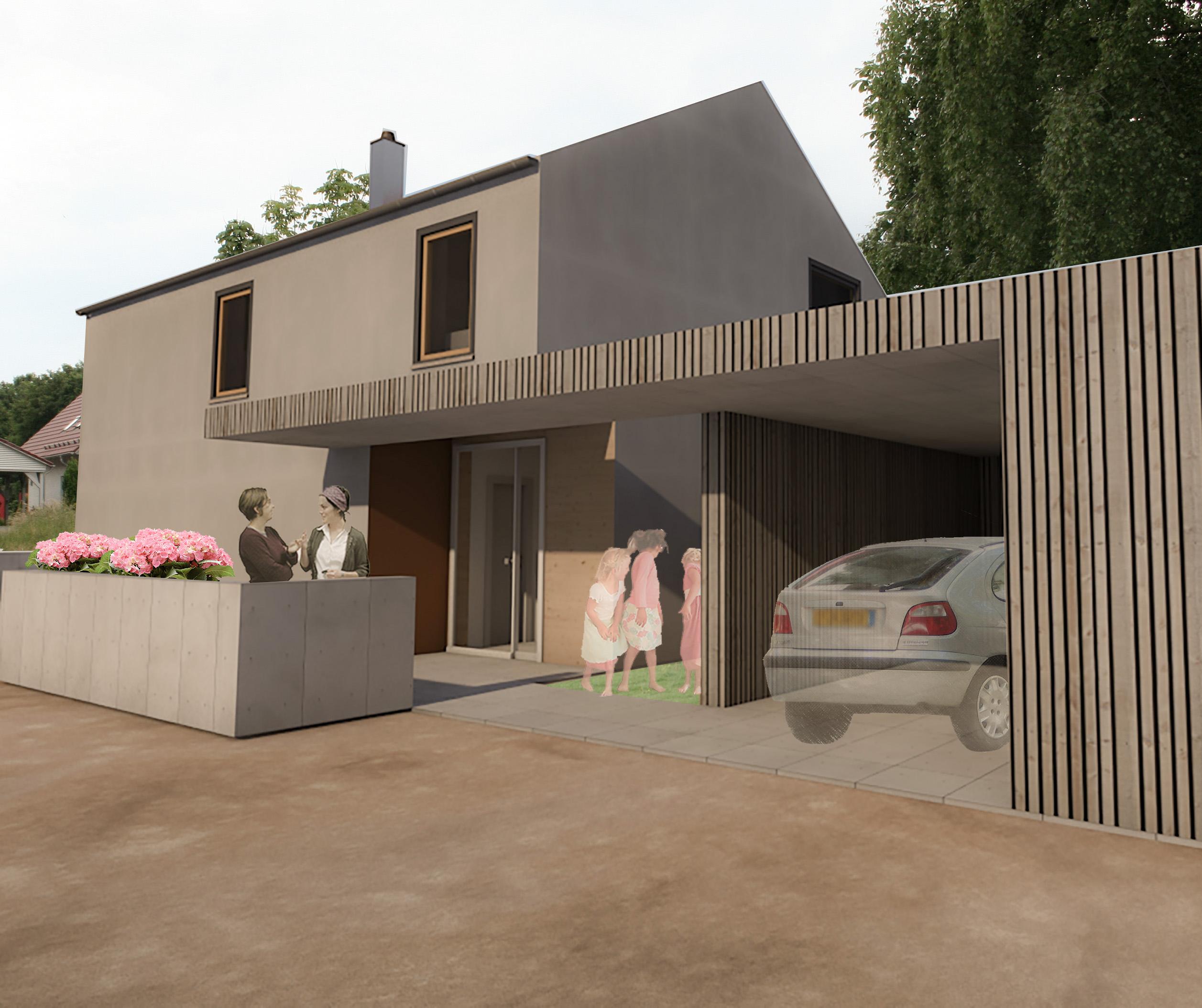 Drei Modell-Einfamilienhäuser